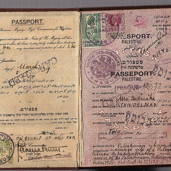 1939 British Palestine passport from Prague