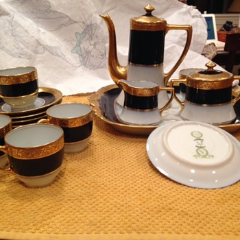 Limoges gold encrusted and cobalt demitasse set - China and Dinnerware