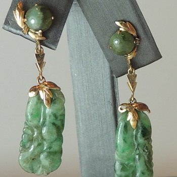 Clip-on Earrings - Jade and 10k Gold? - Asian