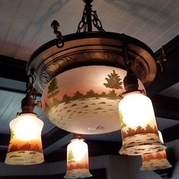 Sunset and Trees Chandelier, Consolidated Lamp and Glass Co., Coraopolis, PA, ca 1910s-1920s - Lamps