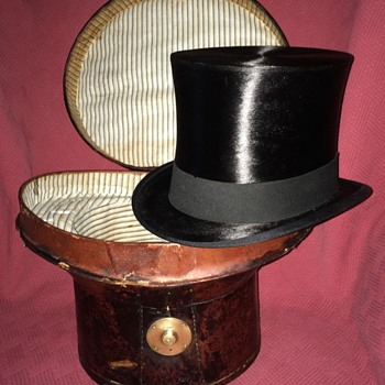 Antique Portuguese Silk Top Hat and Leather Case - Hats