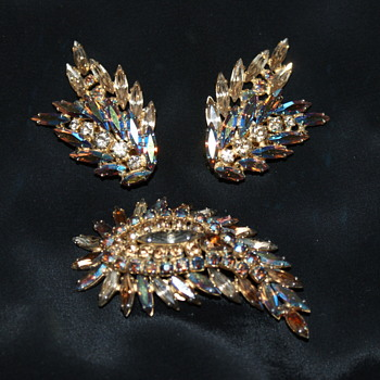 Sherman Vintage Earrings and Brooch - Costume Jewelry