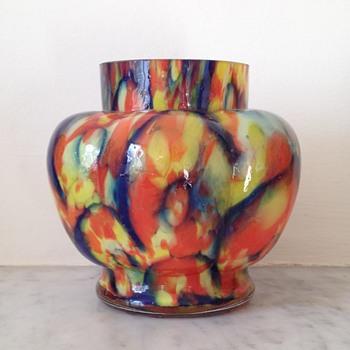Confetti / spatter flower heads lobed urn - Art Glass