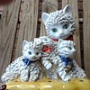 Large spaghetti cat and kitten figurine on pillow, marked Italy
