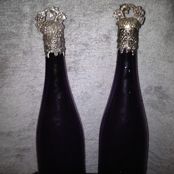 Amethyst Glass Sterling Topped Wine Decanters - Bottles