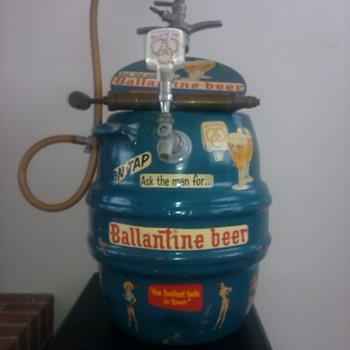 ballantine antique keg cooler