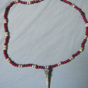 Native american antler pendant,red coral,bone bead + skull necklace - Native American