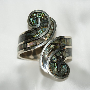 Large Alpaca Abalone Inlay Clamper Bracelet, Mexico - Fine Jewelry