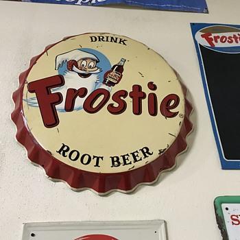 Early frostie root beer bottle cap sign  - Advertising