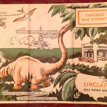 1933 Chicago Sinclair Road Map Dinosaur Worlds Fair - Petroliana