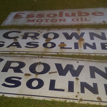"Crown Gasoline Enamel Sign all blue no ""red"" roughly 5'x 18"" - Advertising"