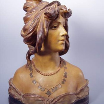 Antique Bloch Art Nouveau Terra Cotta Woman's Bust - Pottery