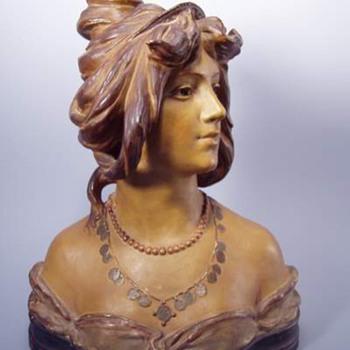 Antique Bloch Art Nouveau Terra Cotta Woman's Bust