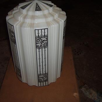 Art deco white glass skyscraper globe - Art Deco