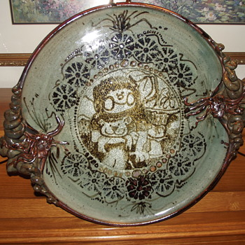 Pottery Stoneware Platter Plate with Unique Handles