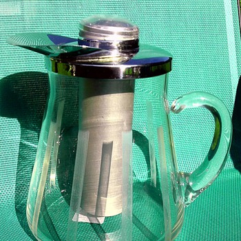 mid century glass pitcher with metal ice insert - Glassware
