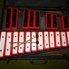 Vintage Xylophone on Black and Red Wood Blocks in Case