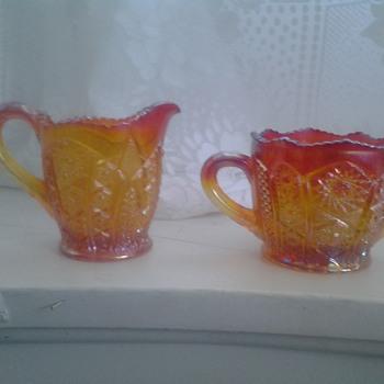 amberina carnival glass creamer and sugar set