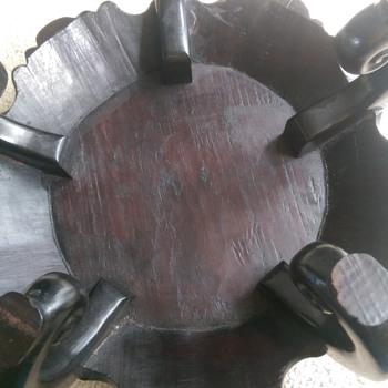 Dark wood small circular table - Furniture