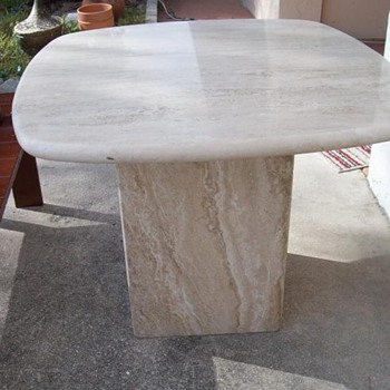 Mid Century - Travertine End Table - Cube Style