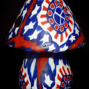 Original 1960's PSYCHEDELIC MUSHROOM unlit candle with RWB motif and peace signs - Politics
