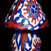 Original 1960's PSYCHEDELIC MUSHROOM unlit candle with RWB motif and peace signs