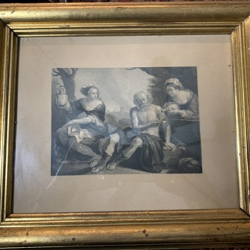 Lot and His Two Daughters Print in Lemon-Gilded Frames - Fine Art