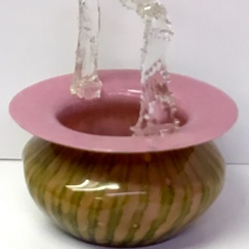 Welz Striped Basket - Art Glass