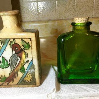 Antique Qajar Bottle With Unique Unknown Glass Flask
