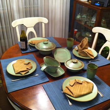 Frankoma Westwind Pattern in Prairie Green - Pottery