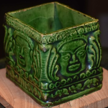 Interesting Green-glazed Ceramic Box - Pottery