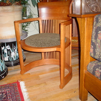 Oak cabinet, lamp, table chair, table/w side chairs,Frank L.Wright barrel chairr