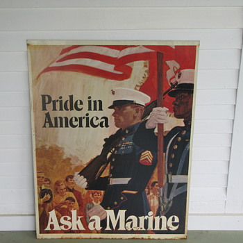 Pride in America Ask a Marine Tin Sign - Signs
