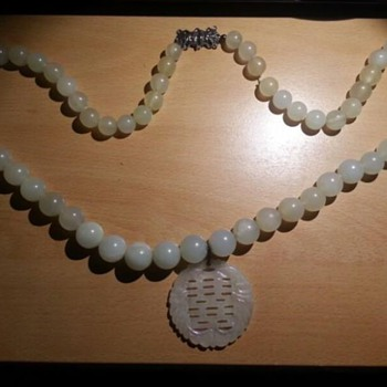Chinese antique white jade jadeite necklace/choker - Asian