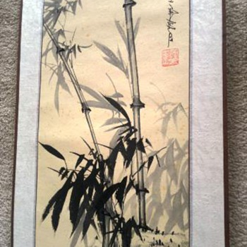 Oriental painted scroll on paper