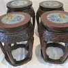 My favorite Cloisonne hand Carved Tea Table with 4 Carved stools Chinese
