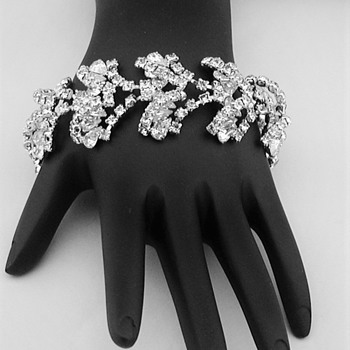 Vintage Crystal Rhinestone Heavy Rhodium Plated Bracelet - Costume Jewelry