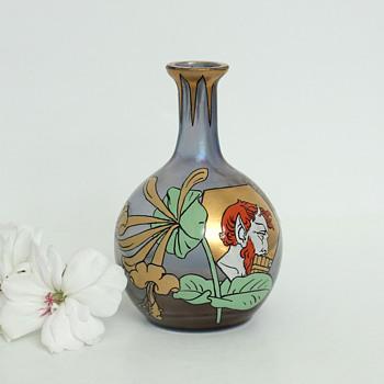 Fritz Heckert Iridescent Enameled 'Pan' Vase - Art Glass