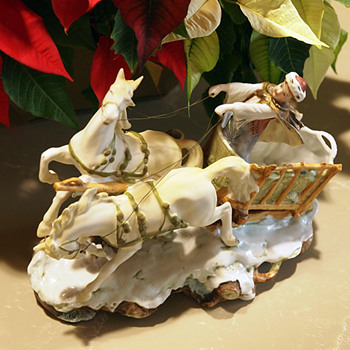 1930's Grafenthal  German Winter Lamp Base, Featuring Boy Cart and Two Horses, OOF Importer  - Christmas