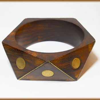 Vintage Bracelet // Bangle ( Wood with Brass inserts ) - Costume Jewelry