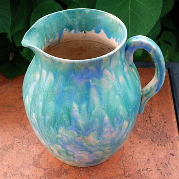 Multi Glazed Redware Pitcher - Pottery