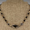 """Diamond & Onyx Necklace--Anyone Recognize the """"BR"""" Maker's Mark?"""