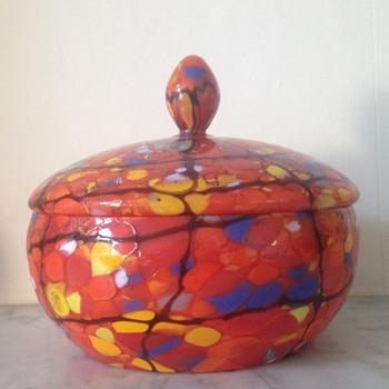 Amethyst threaded tango spatter bowl - Art Glass