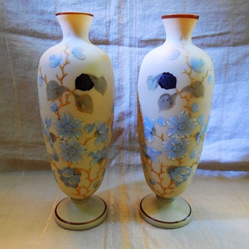 Antique Bristol Custard Glass Vase Pair Satin Hand Painted Blown Glass? - Art Glass