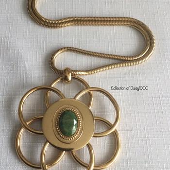 Sherman Jewelry Large Goldtone Pendant — 1970s (1 of 2) - Costume Jewelry