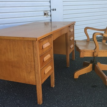 Wooden Desk & Chair from 1950s?