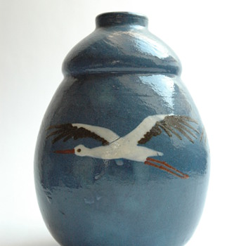 french art deco pottery vase with stork pattern by JEAN GARILLON , manufacture Elchinger, soufflenheim - Art Deco