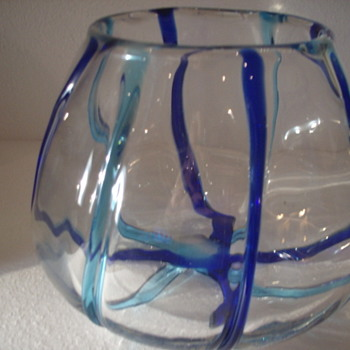 Large Crystal Bowl with Teal Green/blue and Dark Blue Ribbing - Art Glass