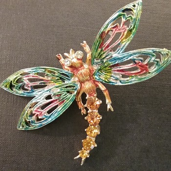 ART dragonfly brooch  - Costume Jewelry