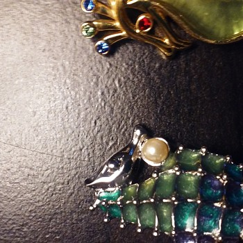 Seahorse pins by Liz Claiborne and Trifari, costume - Costume Jewelry